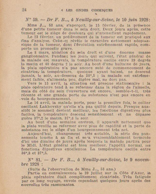 guérison recueil de  témoignages mr Lakhovsky et docteur rigaud